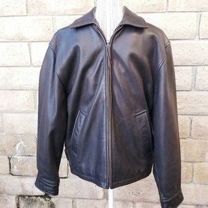 Brooks Brothers Chocolate Brown Leather Jacket